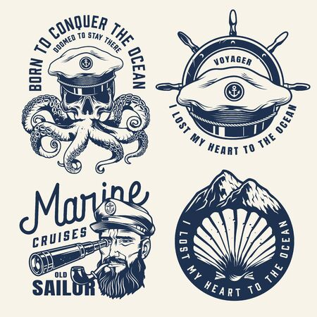 Vintage nautical monochrome labels with sea captain hat ship wheel seashell mountains skull with octopus tentacles sailor looking through spyglass isolated vector illustration