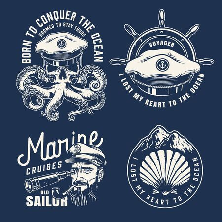 Vintage marine emblems with rudder seashell sea captain hat octopus tentacles with skull sailor head looking through spyglass in monochrome style isolated vector illustration