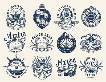 Vintage monochrome nautical emblems set with different marine creatures skull lighthouse diving helmet compass sailor sea captain hat ship wheel isolated vector illustration