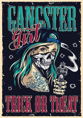 Vintage gangster colorful poster with girl in baseball cap and scary mask holding revolver vector illustration