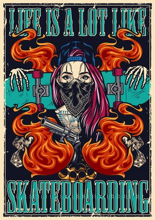 Colorful vintage skateboarding poster with girl in baseball cap and scarf skeleton hands holding skateboard revolver brass knuckles game dice and flames vector illustration Vectores