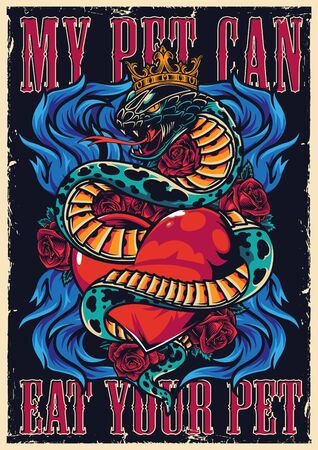 Colorful tattoo authentic poster with rose flowers blue fire lettering and snake in crown entwined around heart vector illustration