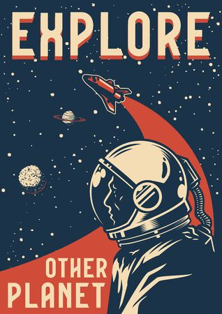 Space exploration colorful poster with astronaut flying shuttle planets and stars in vintage style vector illustration