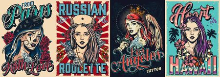 Vintage colorful travel posters with beautiful four girls in french beret russian ushanka hat crown with angel wings and purple hairs vector illustration