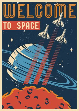 Colorful space vintage template with flying spaceships Saturn and Mars planets vector illustration