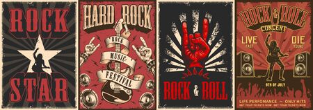 Rock and roll colorful posters with letterings rocker playing electric guitar loudspeakers goat hand gestures dancing crowd silhouette in vintage style vector illustration Vektorgrafik