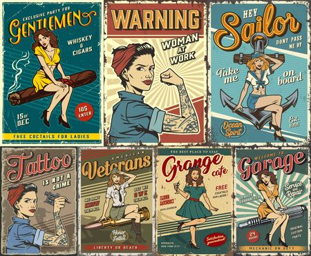 Pin up colorful posters set with garage retro party sailing tattoo studio military women power covers in vintage style vector illustration