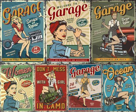 Colección colorida de carteles pin up con servicio de reparación de garaje, cubiertas náuticas y militares con hermosas chicas en la ilustración de vector de estilo vintage