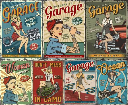 Colorful pin up posters collection with garage repair service nautical and military covers with beautiful girls in vintage style vector illustration
