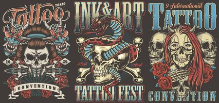 Tattoo conventions colorful vintage posters with geisha skull devil masks dagger snake entwined with skull girl with demon horns and mask vector illustration