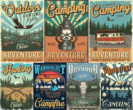 Vintage hunting and camping colorful posters with flying eagle deer skull antlers crossed guns motorhome lantern tent forest and mountains landscape vector illustration