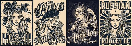 Vintage monochrome travel posters with tattoo fest in Los Angeles cover and attractive girls with different hawaii russian french attributes vector illustration