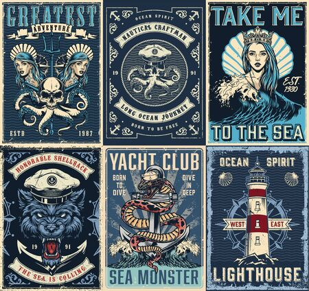 Vintage marine posters set with pretty girls wearing crown and seashells snake entwined around anchor lighthouse angry wolf head in sea captain hat skull with octopus tentacles vector illustration