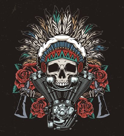 Vintage wild west colorful concept with native american indian chief skull in feathers headwear tomahawks roses and motorcycle engine isolated vector illustration Vetores