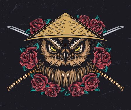 Japanese style tattoo vintage concept with serious owl head in conical straw hat roses and crossed katanas isolated vector illustration