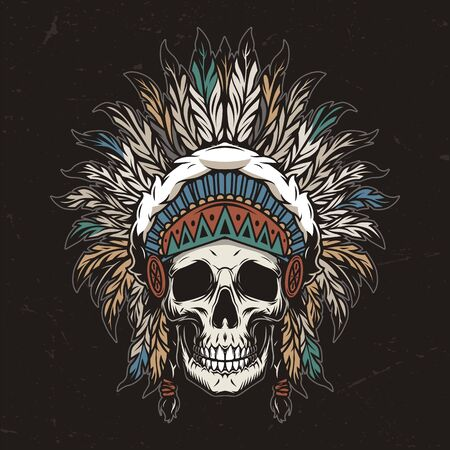 Vintage colorful wild west template with skull in american indian tribal feathers headwear isolated vector illustration Vektoros illusztráció