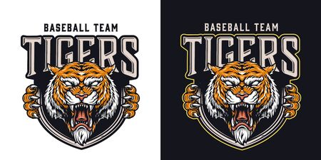 Vintage baseball team colorful logo with cruel tiger mascot isolated vector illustration