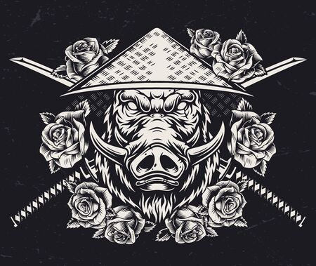 Japanese animal warrior vintage concept with cruel wild boar head in conical straw hat rose flowers and crossed katanas isolated vector illustration Illustration