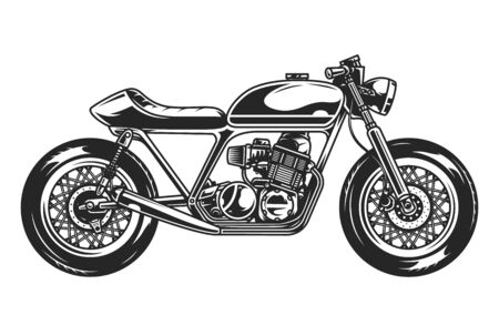 Old motorcycle template in monochrome style isolated vector illustration Ilustração Vetorial