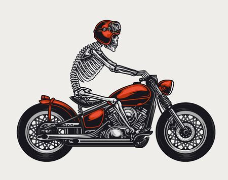 Colorful motorcycle vintage concept with skeleton in biker helmet and goggles riding motorbike isolated vector illustration