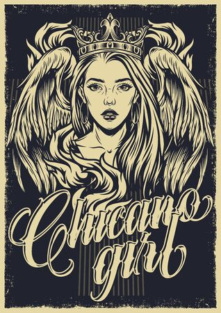 Chicano tattoo vintage monochrome poster with lettering flame attractive girl in crown with angel wings vector illustration Stock Illustratie