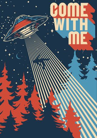 UFO abducts man colorful poster in vintage style vector illustration Vecteurs