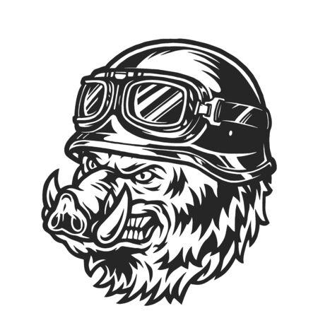 Ferocious biker wild boar head in monochrome vintage style isolated vector illustration Ilustración de vector