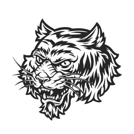 Aggressive tiger head concept in vintage monochrome style isolated vector illustration