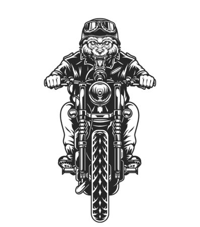 Cruel wolf head motorcyclist in helmet and goggles riding motorbike in vintage monochrome style isolated vector illustration Ilustración de vector