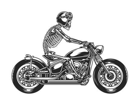 Skeleton biker driving motorcycle in vintage monochrome style isolated vector illustration Vector Illustratie