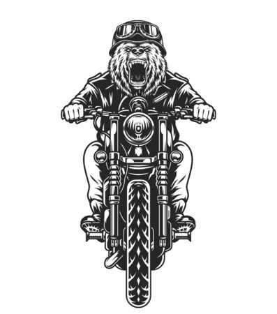 Biker with aggressive bear head riding motorcycle in vintage monochrome style isolated vector illustration