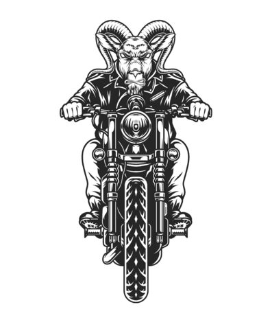 Concepto vintage de motociclista animal con motociclista de cabeza de cabra enojado montando motocicleta ilustración vectorial aislada Ilustración de vector