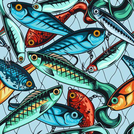 Colorful fishing baits seamless pattern in vintage style on fisherman net background vector illustration Vektorové ilustrace