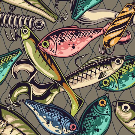 Fishing baits colorful seamless pattern with various artificial lures with metal hooks in vintage style vector illustration Vecteurs