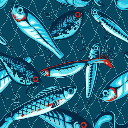 Fishing artificial baits vintage seamless pattern with wobblers and plastic lures vector illustration Illustration