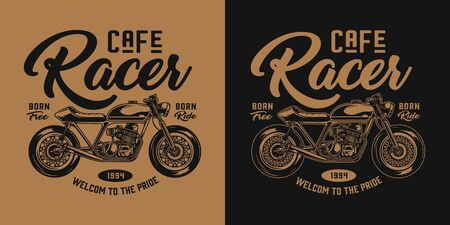 Vintage motorcycle monochrome emblem with cafe racer motorbike and inscriptions isolated vector illustration