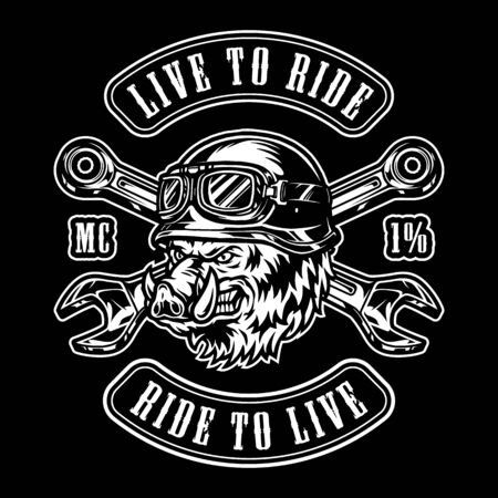 Vintage motorcycle monochrome label with crossed wrenches and cruel wild boar head in biker helmet isolated vector illustration Vetores
