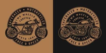 Vintage motorcycle round emblem with cafe racer motorbike in monochrome style isolated vector illustration