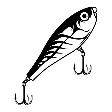 Vintage monochrome fishing bait concept with metal hooks isolated vector illustration