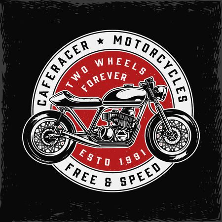 Cafe racer motorcycle vintage round print with inscriptions and classic motorbike isolated vector illustration Vector Illustration