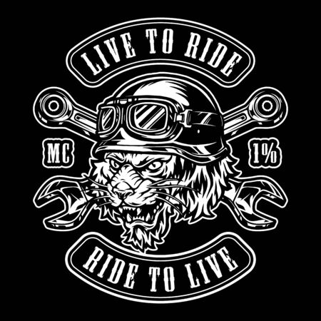 Animal moto rider vintage emblem with crossed spanners and ferocious tiger head in biker helmet isolated vector illustration