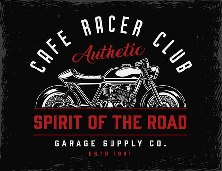 Cafe racer club vintage badge with classic motorcycle isolated vector illustration
