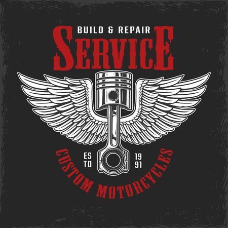 Build and repair motorcycle service label with winged engine piston isolated vector illustration Çizim