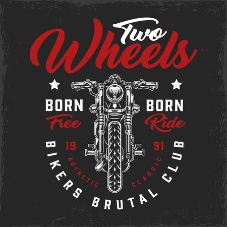 Bikers club vintage logotype with classic motorcycle and letterings isolated vector illustration