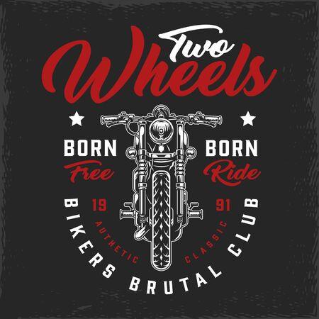 Logo vintage du club de motards avec moto classique et lettrage illustration vectorielle isolée