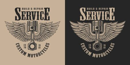 Motorcycle repair service vintage emblem with inscriptions and winged piston in monochrome style isolated vector illustration