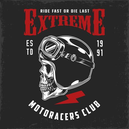 Motoracers club vintage print with skull in moto helmet and goggles isolated vector illustration