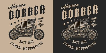 Custom motorbike vintage monochrome emblem with bobber motorcycle and american flag isolated vector illustration