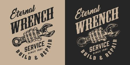 Motorcycle repair service vintage badge with letterings and skeleton hand holding spanner isolated vector illustration Stock Illustratie