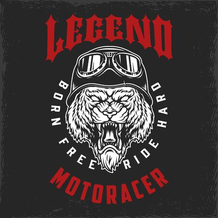 Vintage motorcycle print with aggressive tiger head in biker helmet on dark background isolated vector illustration